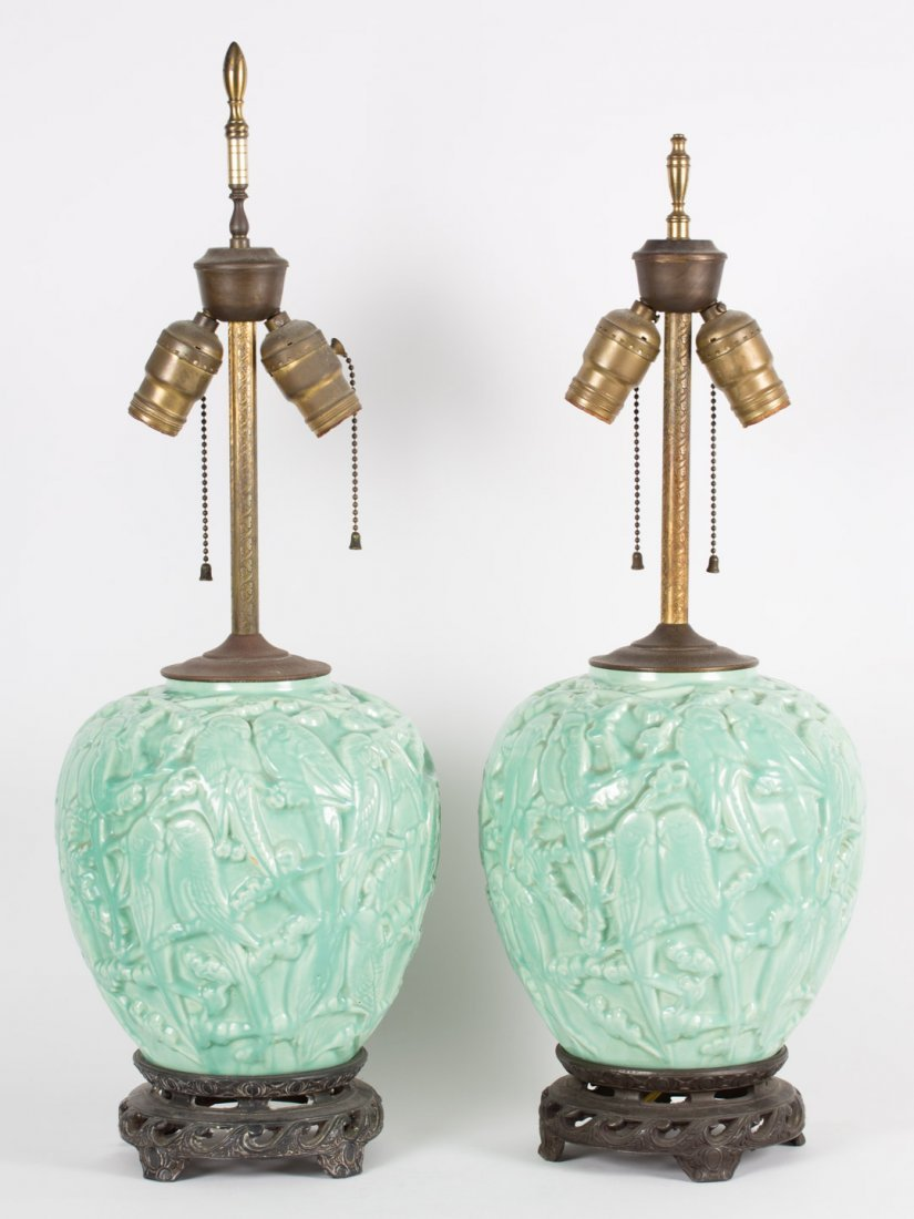 """Pair of Stangl pottery """"Lovebird"""" lamps"""