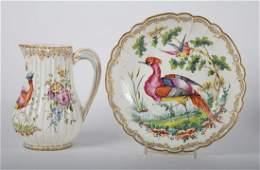 Chelsea soft paste porcelain jug and bowl
