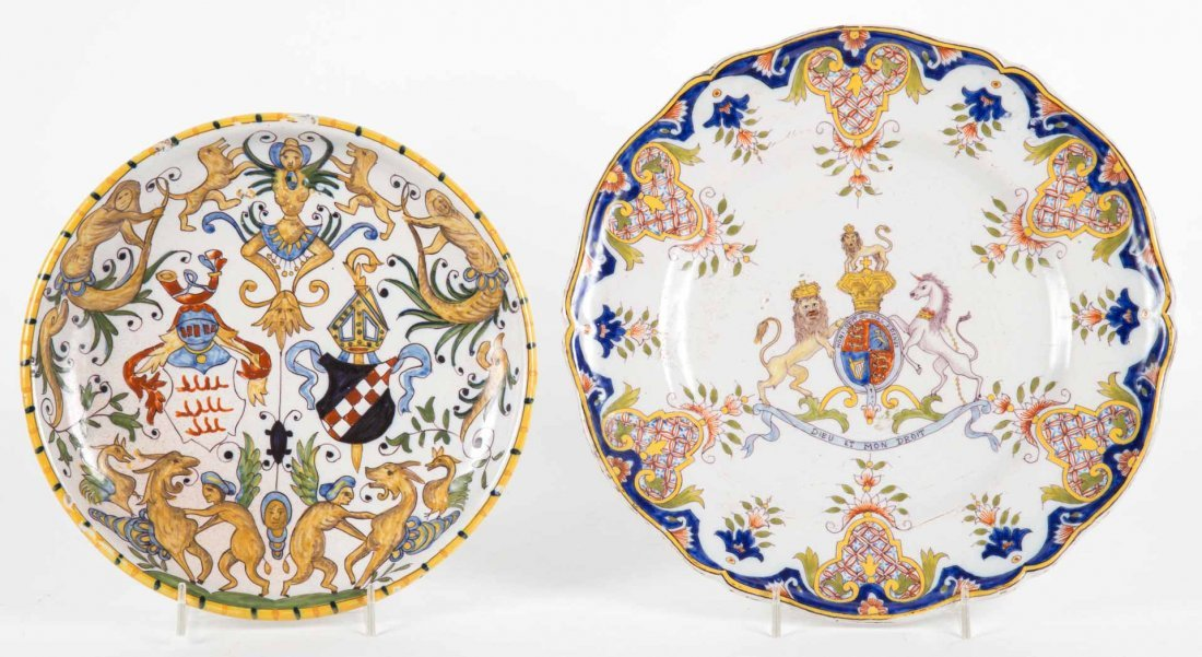 Two French faience plates in the Rouen manner