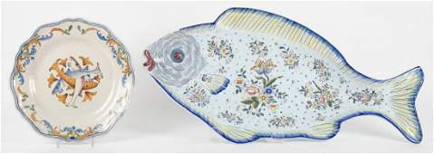French faience fish platter and plate
