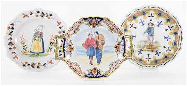 Three Quimper and French faience plates