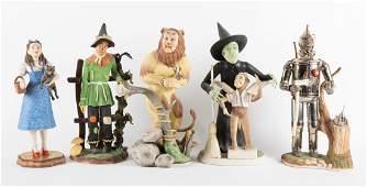 Five Goebel painted bisque Wizard of Oz figures