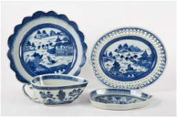 4 Chinese Export Canton porcelain table articles