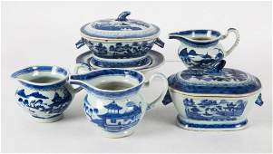 Six Chinese Export Canton porcelain table articles