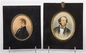 American School 19th c Two miniature portraits