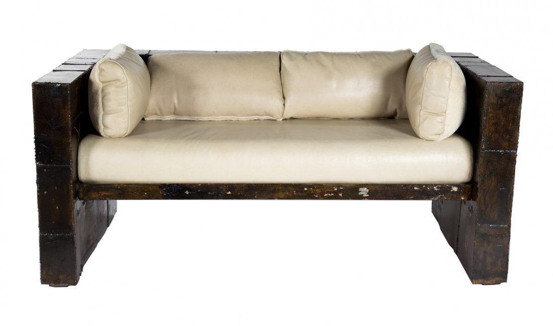 "Paul Evans welded steel ""Patchwork"" sofa"