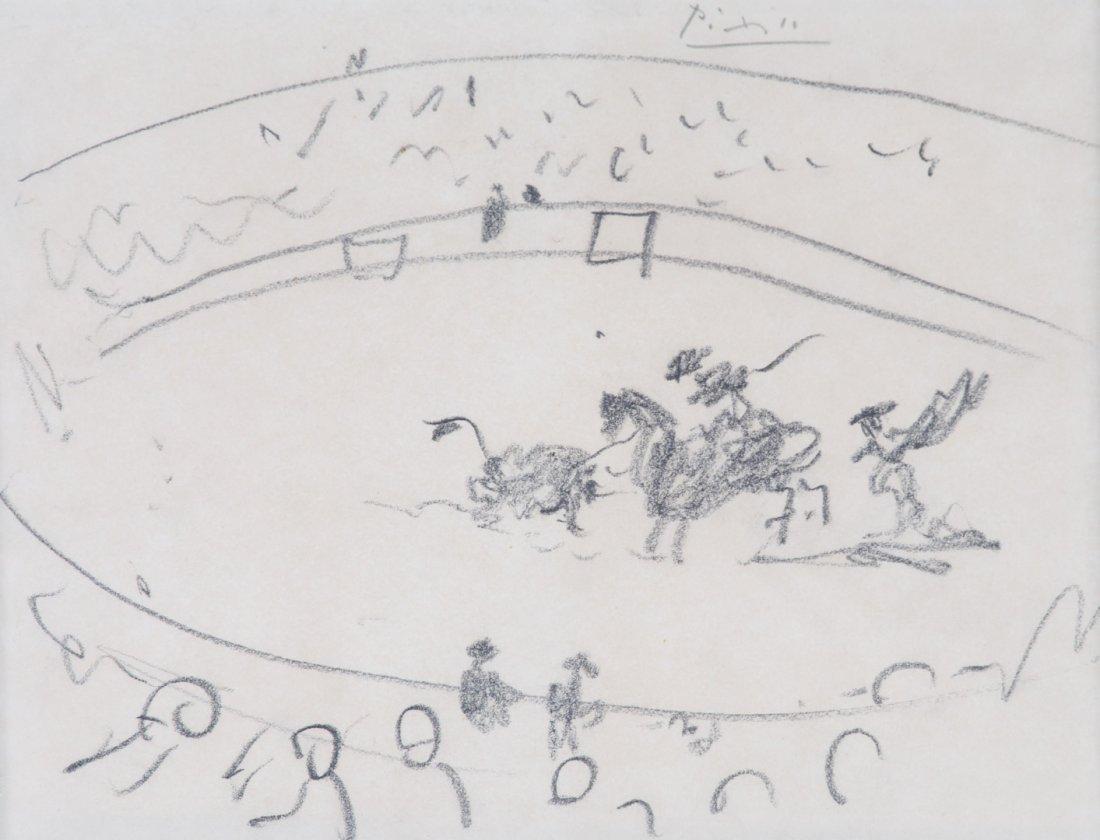 "Pablo Picasso. ""Bullfight,"" black chalk on paper"