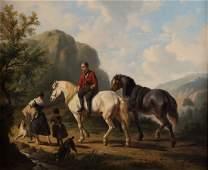 Attr. to Jan Verschaeren. Peasant Travelers, oil