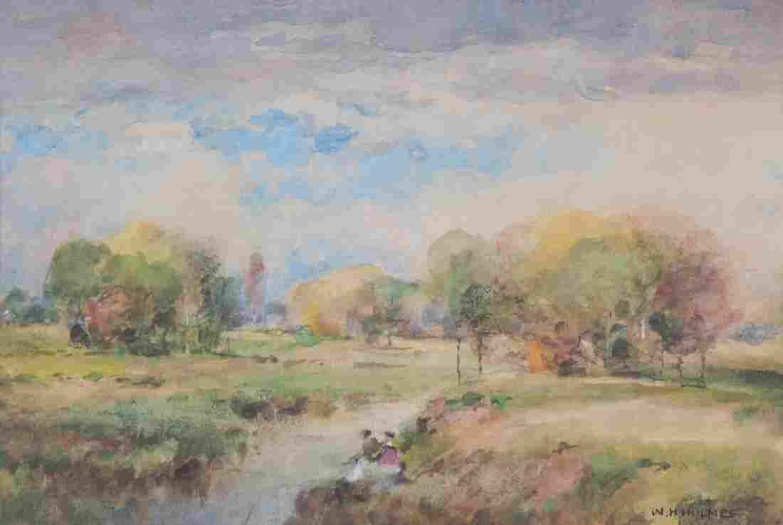 William Henry Holmes. Spring Landscape, watercolor