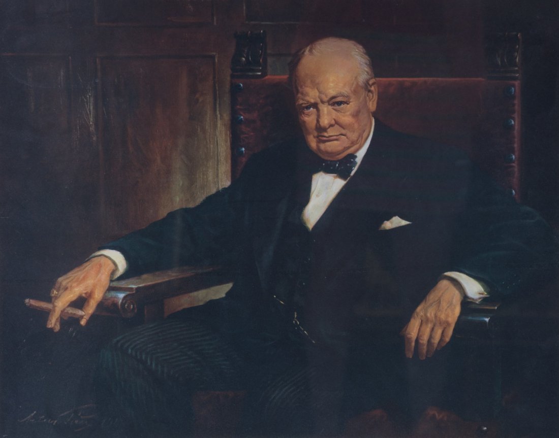 Arthur Pan, Portrait of Winston Churchill, litho