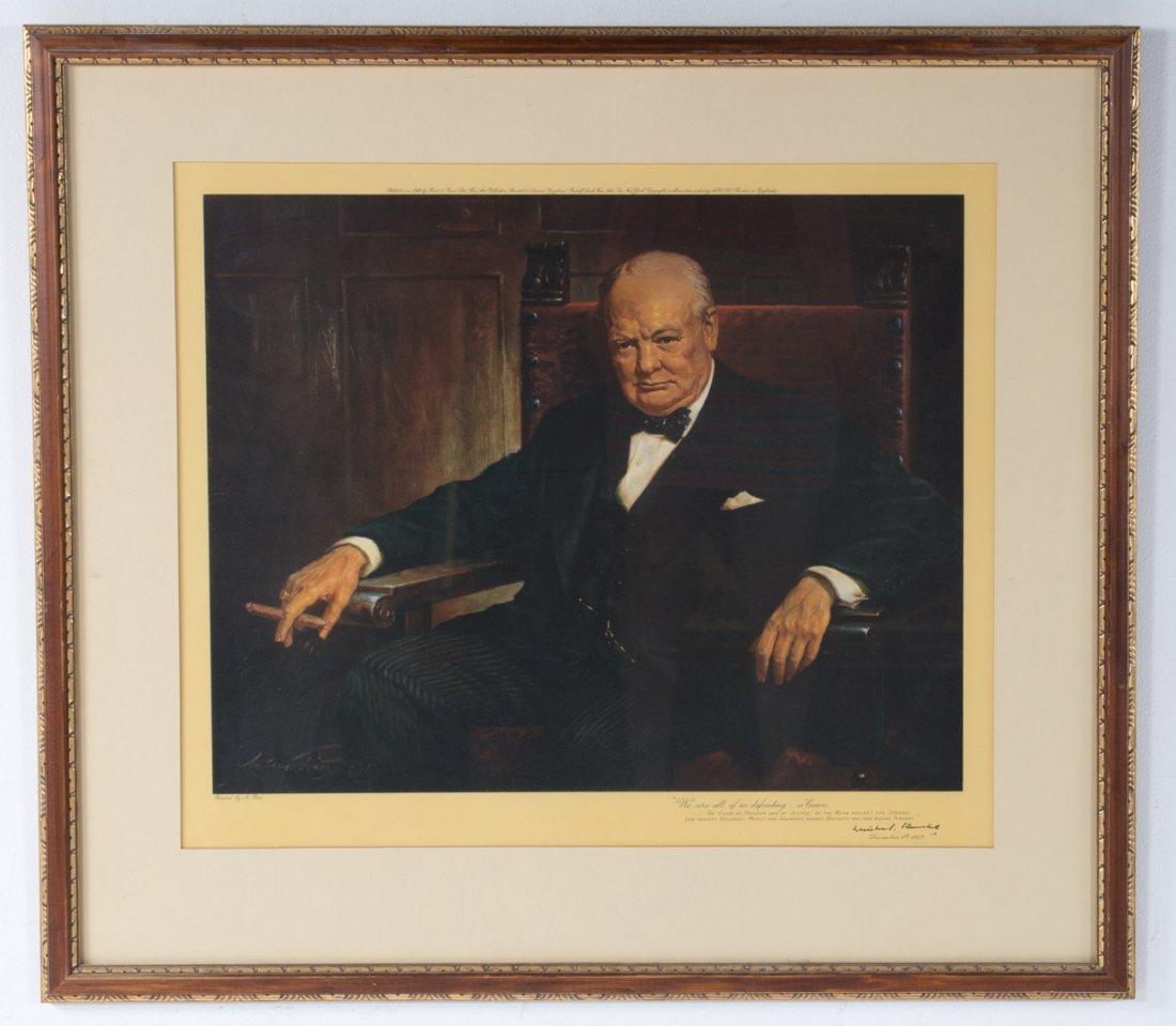Arthur Pan, Portrait of Winston Churchill, litho - 2