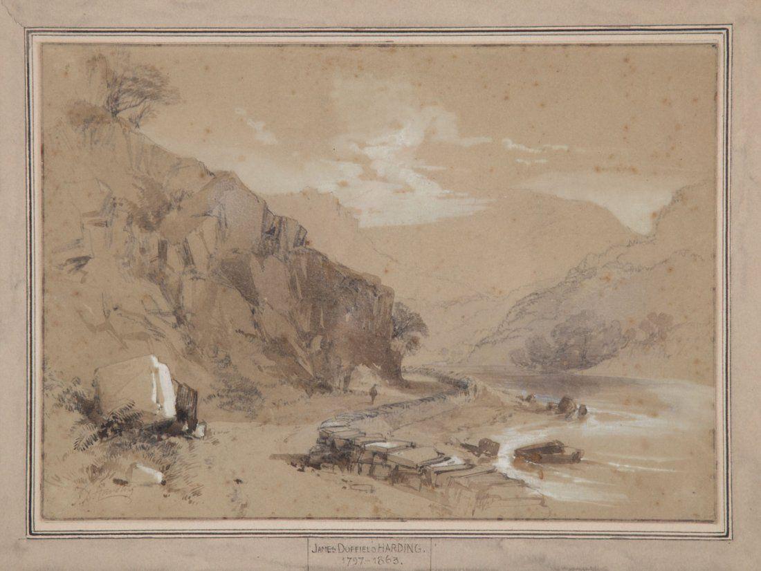James Harding. Landscape with River, ink wash
