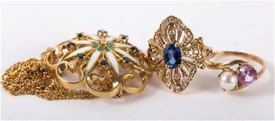 A PendantBrooch with Gold Chain  Two Rings