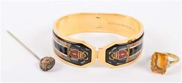 A Citrine & Diamond Ring and Enamel Bracelet