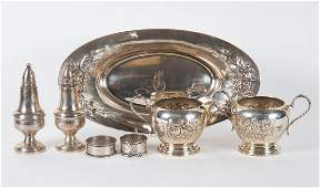 """Three Stieff """"Rose"""" sterling silver table items"""