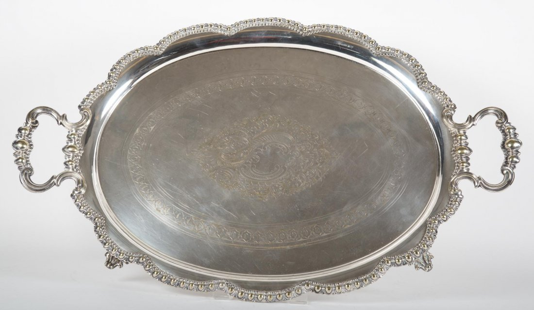 English silver-plated double handle tea tray