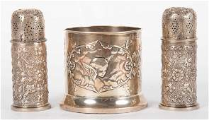Three Victorian sterling silver table articles