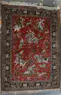 Silk Goum Hunt Scene rug, approx. 3.8 x 5.2