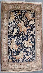 Silk Goum Hunt Scene rug, approx. 3.5 x 5.8