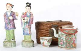 Rose Medallion teapot and two Famille Rose figures