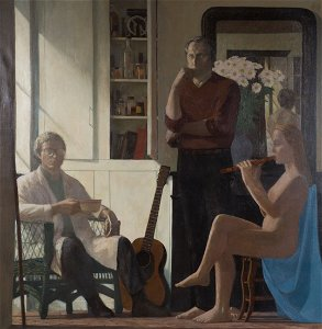 """David Loeb. """"Boys and the Muse,"""" oil on canvas"""