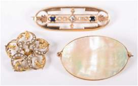 A Trio of Ladys Brooches