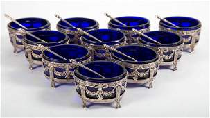 French silver oval salt cellars & spoons
