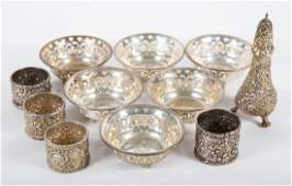 Assorted American sterling silver table articles