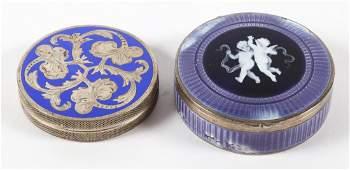Continental guilloche enameled silver pill box