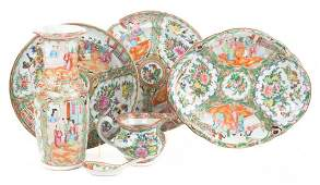 Six pieces of Chinese Export Rose Medallion