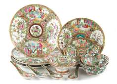 13 Chinese Export Rose Medallion porcelain items