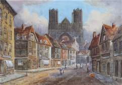 """Edward Nevil. """"Rheims,"""" watercolor on paper"""