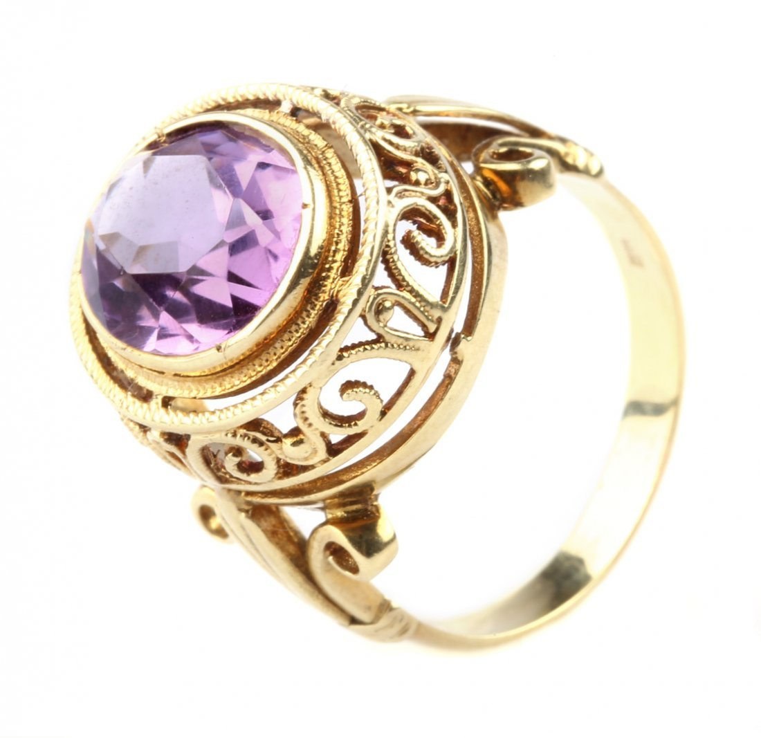 An Amethyst Ring in a Filigree Setting