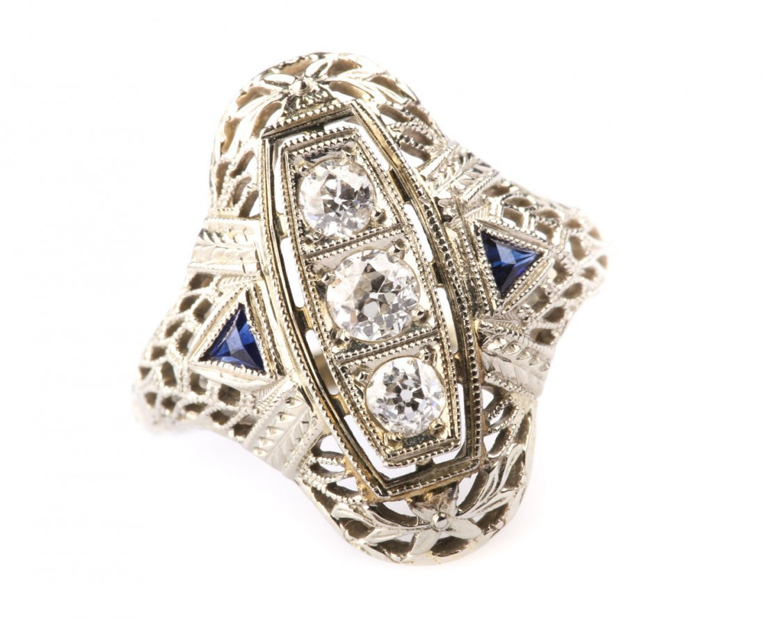 A Diamond and Sapphire Filigree Ring