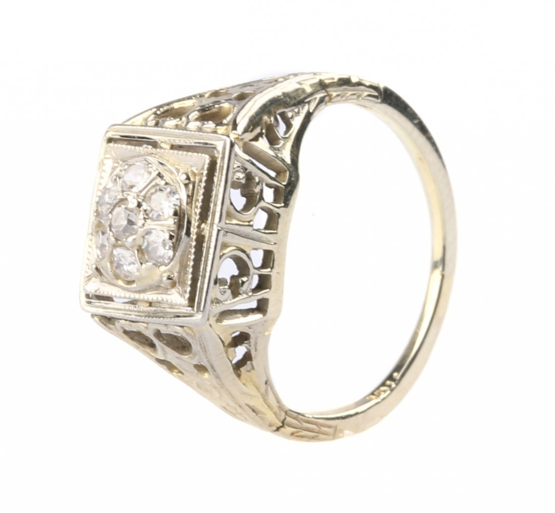 A Diamond Ring in White Gold Open Work