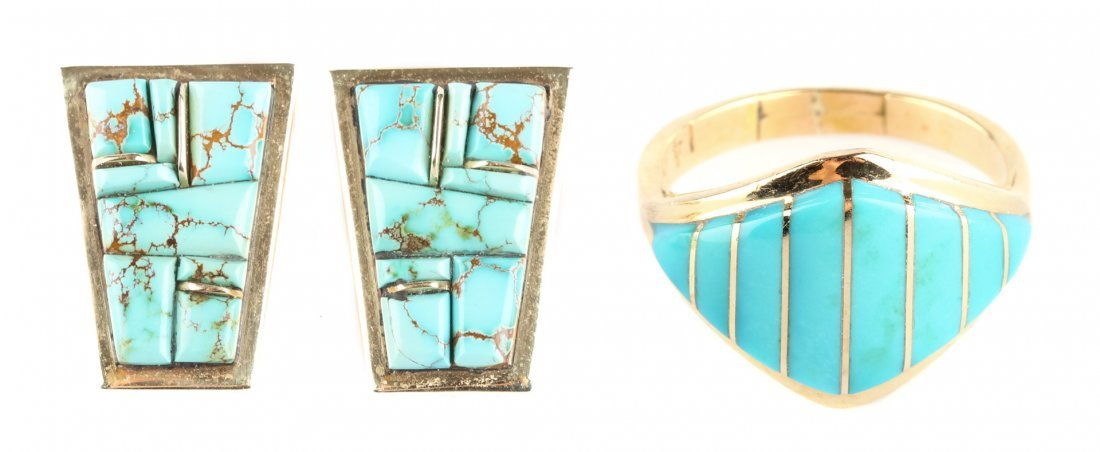 A Pair or Turquoise Earrings and a Ring