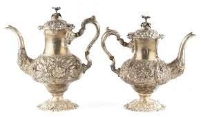 "Stieff ""Rose"" sterling coffee pot & teapot"