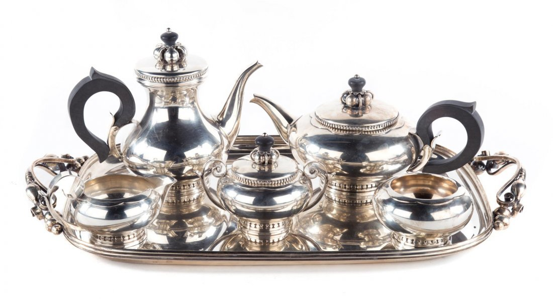 International sterling coffee/tea service & tray