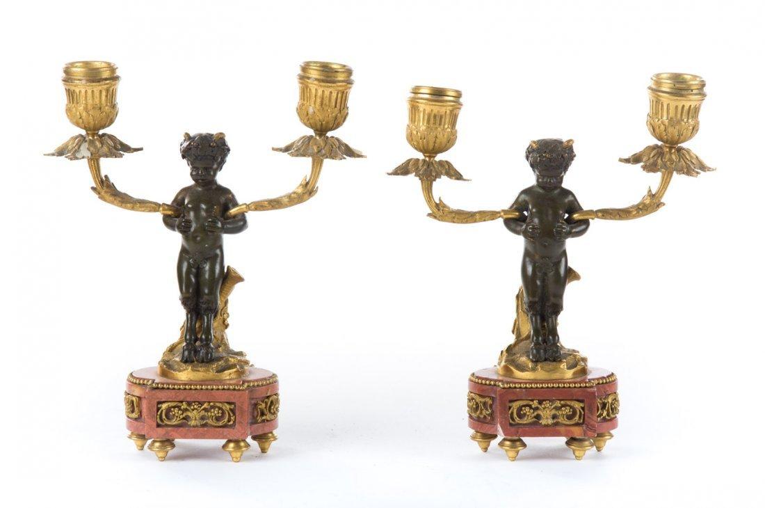Pr of Napoleon III bronze figural candle holders