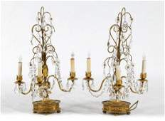 Pair of French Empire style gilt-bronze candelabra