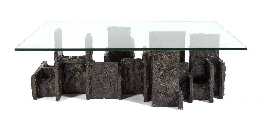 Paul Evans sculpted bronzed wood coffee table