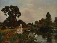 Henry John Yeend King Girls at the Riverbank oil