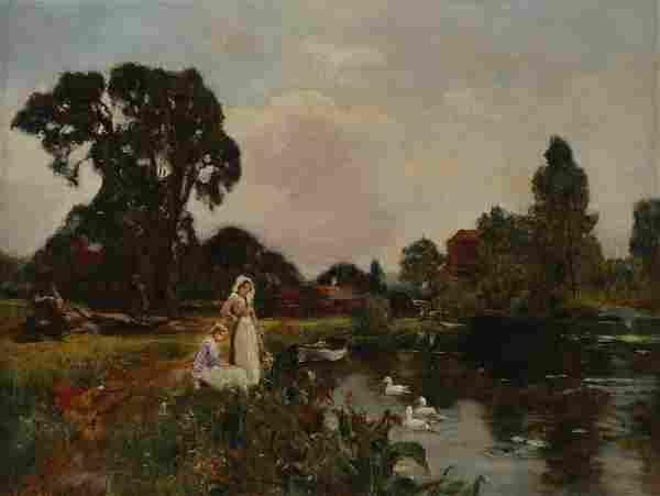 Henry John Yeend King. Girls at the Riverbank, oil