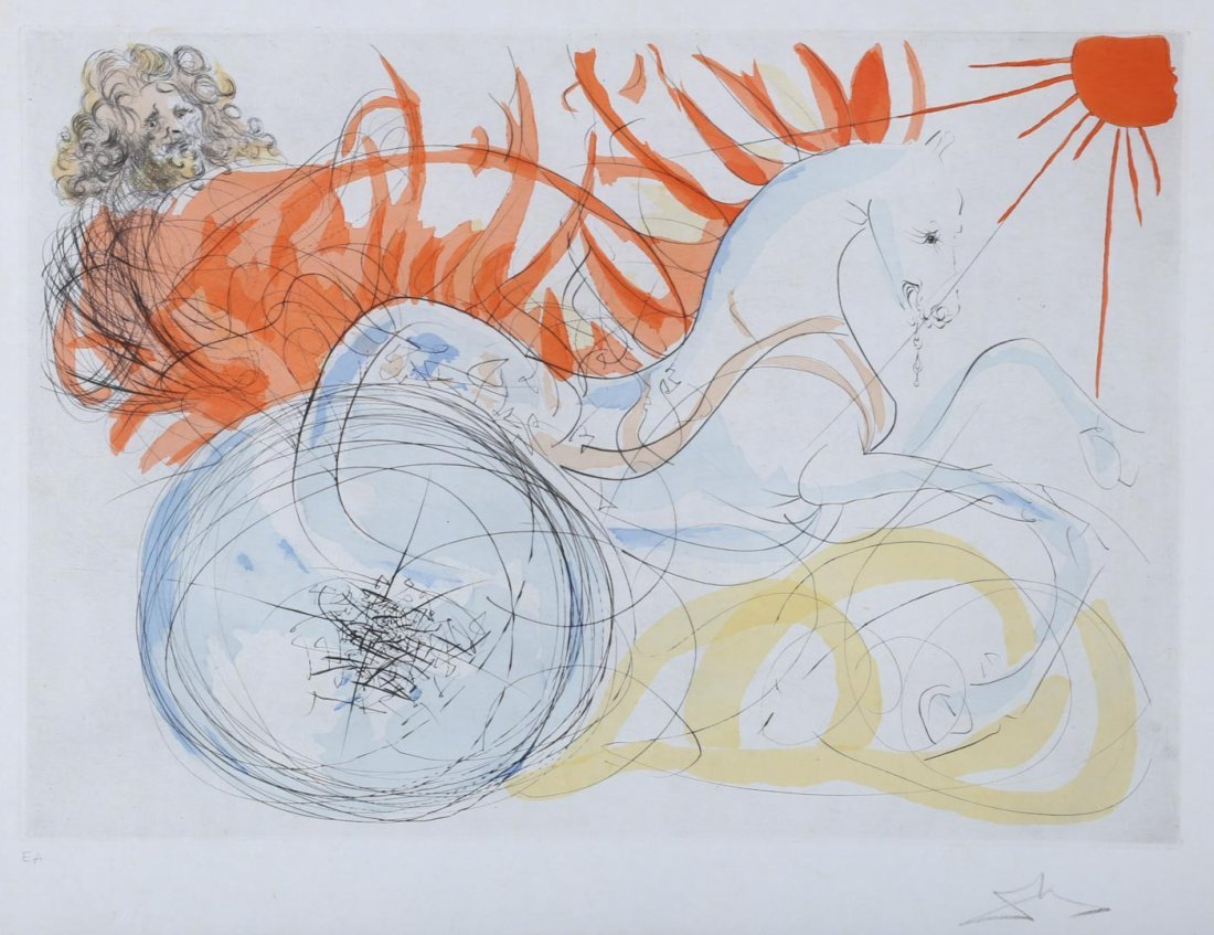 "Salvador Dali. ""Elijah and the Chariot,"" etching"