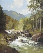 Erich Paulsen. Landscape with Mountain Stream, oil