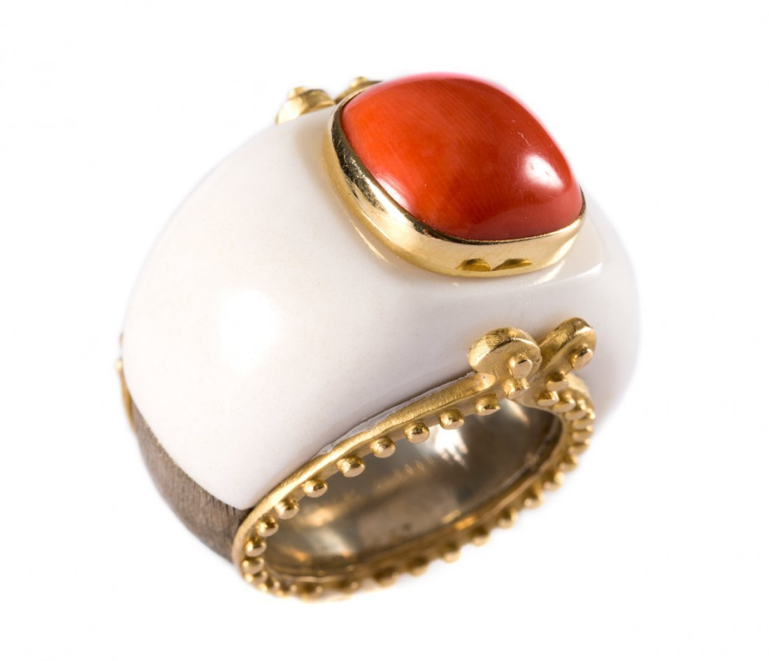A David Webb Inspired Coral & White Agate Ring