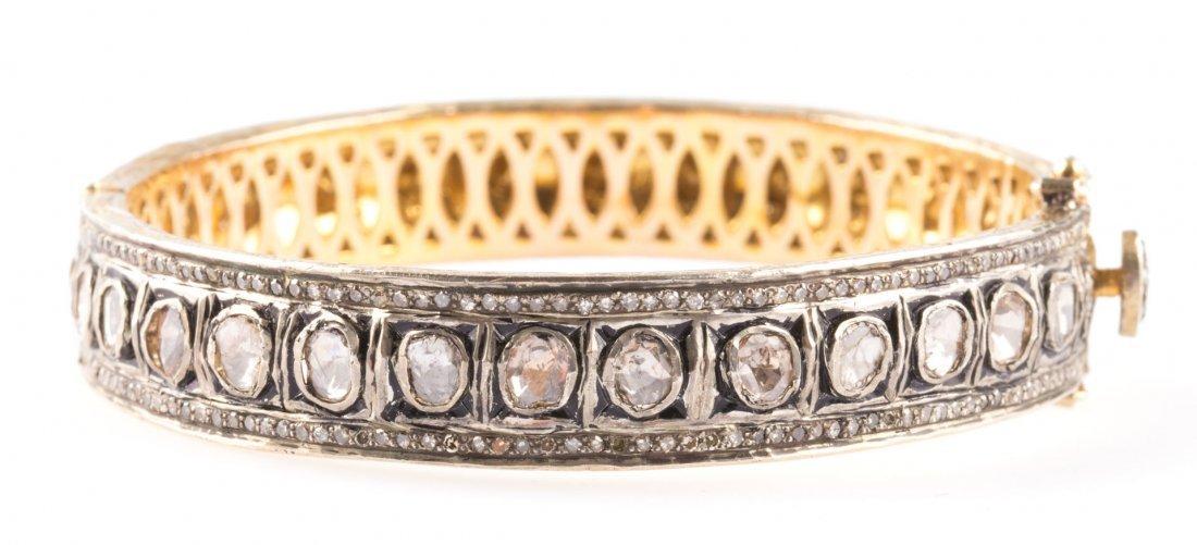 A 14K Gold & Sterling Diamond Bangle Bracelet