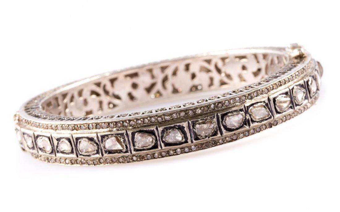 A Bangle Bracelet with Old Mine Cut Diamonds