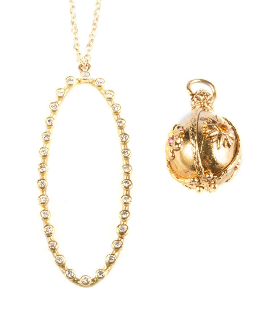 A Suzy Landa Gold and Diamond Necklace & A Charm