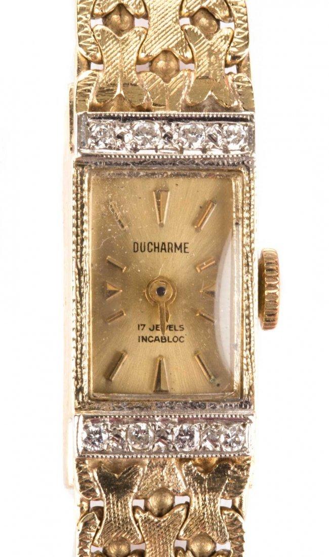 A Lady's 14K and Diamond Dress Watch